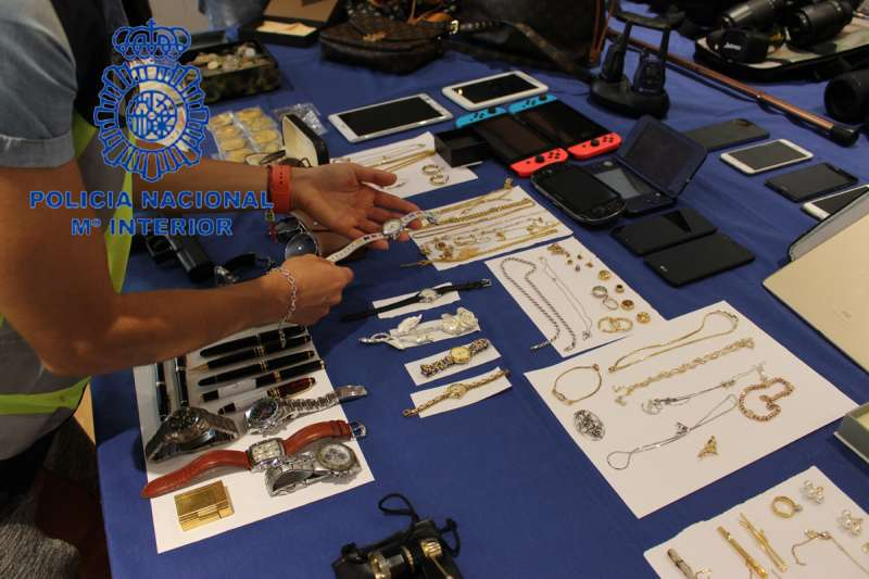 Objetos confiscados en los registros