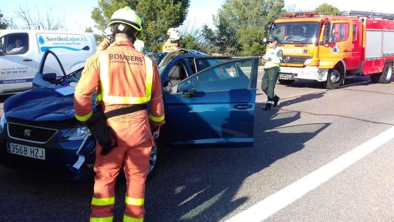 Foto del vehículo accidentado, facilitada por el Consorcio de Bomberos.