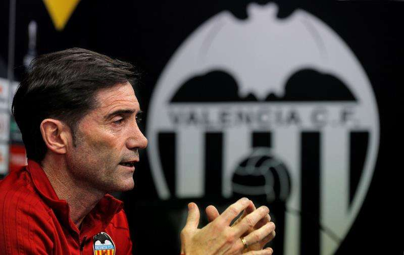 El técnico del Valencia CF, Marcelino García Toral, durante la rueda de prensa previa al partido del jueves ante el Arsenal en Mestalla. EFE