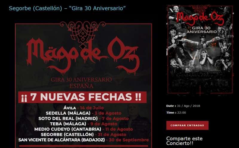 Detalle de la página web de Mago de Oz con el concierto de Segorbe