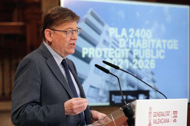 El president de la Generalitat, Ximo Puig, hoy en la presentación del Plan 2400 de promoción de vivienda pública de la Generalitat. EFE/Manuel Bruque
