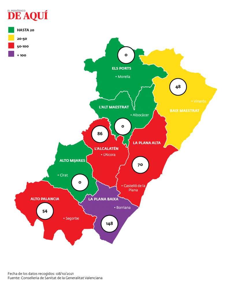 Mapa de la incidencia por Covid en Castelló provincia. EPDA