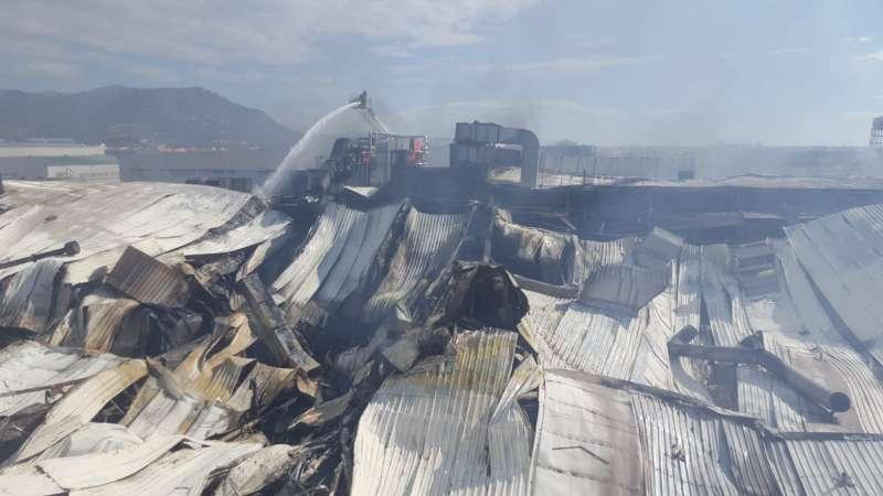 Aspecto de la nave tras el incendio. EPDA