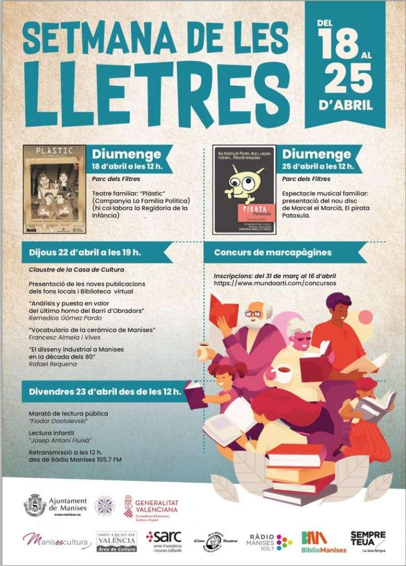 Cartell informatiu amb les activitats de la Setmana de les Lletres.