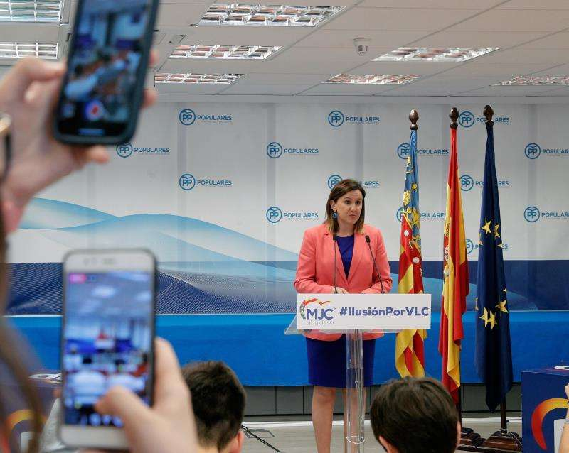 La candidata por el PPCV a la alcaldía de Valencia, Maria José Catalá, durante su rueda de prensa para analizar los resultados electorales. EFE