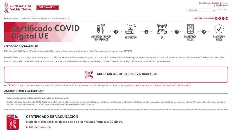Imagen del portal del coronavirus desde donde solicitar el certificado