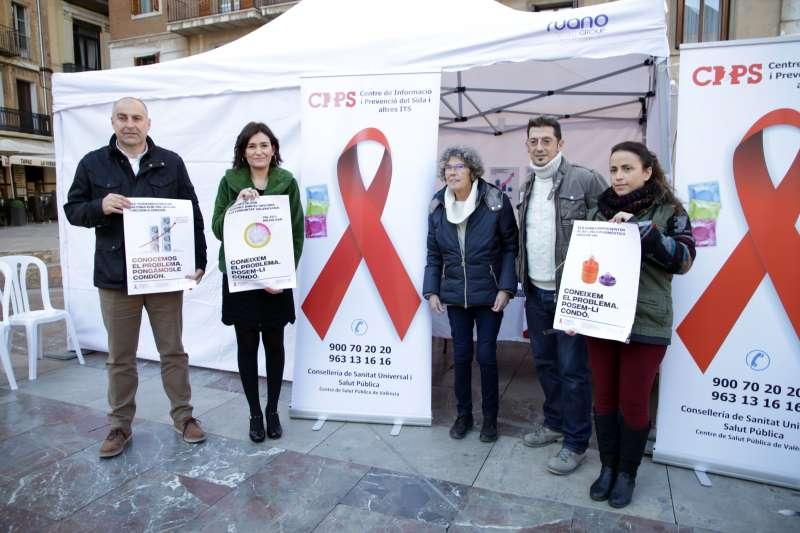 La consellera de Sanitat, Carmen Montón, en el acto de la campaña sobre el VIH.