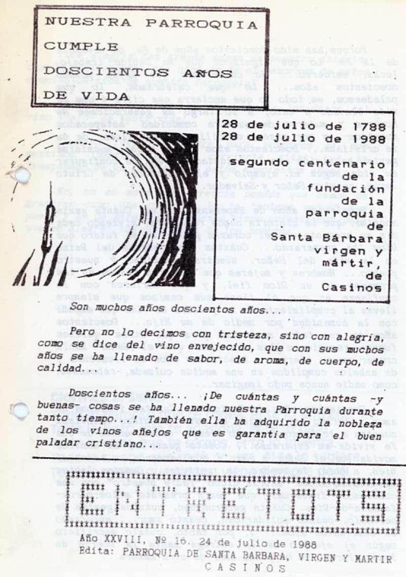Entre Tots 1988. Página del aniversario de la parroquia. / JSM