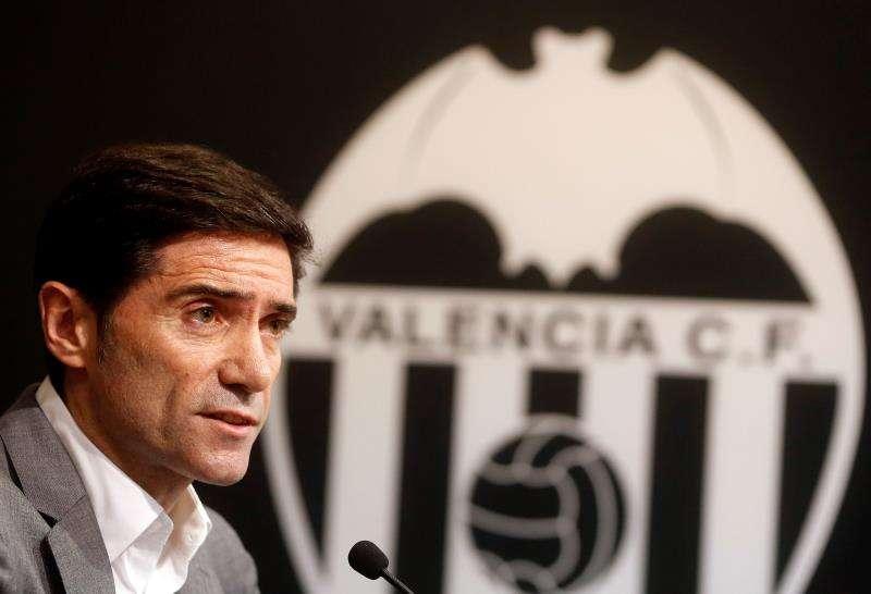 El entrenador del Valencia CF, Marcelino García Toral, durante la rueda de prensa previa a la primera jornada de liga. EFE