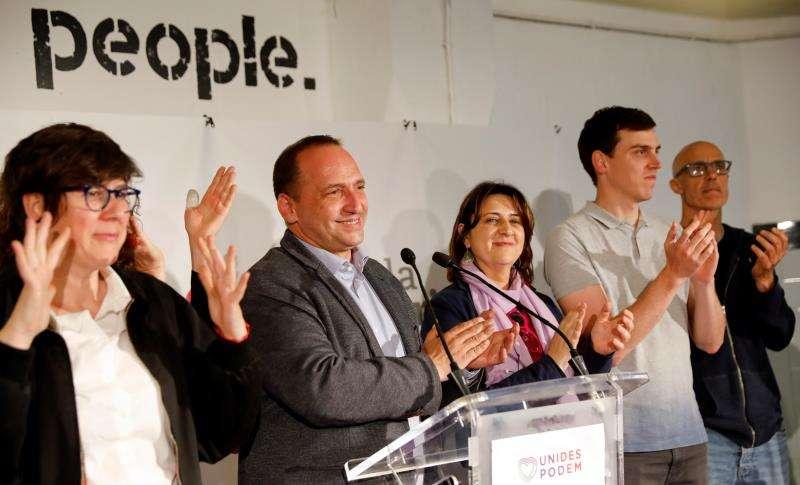 El portavoz de Unides Podem será el candidato a la presidencia de la Generalitat y cabeza de lista por Alicante, Rubén Martínez Dalmau, segundo por la izquierda en esta imagen. EFE/Archivo