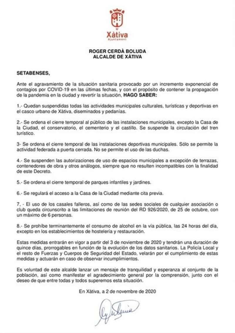 En la imagen, el bando municipal con las nuevas medidas anticovid difundido por el Ayuntamiento de Xàtiva.