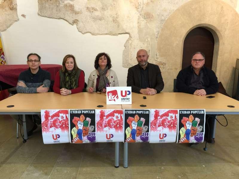 Los dirigentes de EU en la presentación de la candidatura de Ricardo Sixto en Riba-Roja. //EPDA