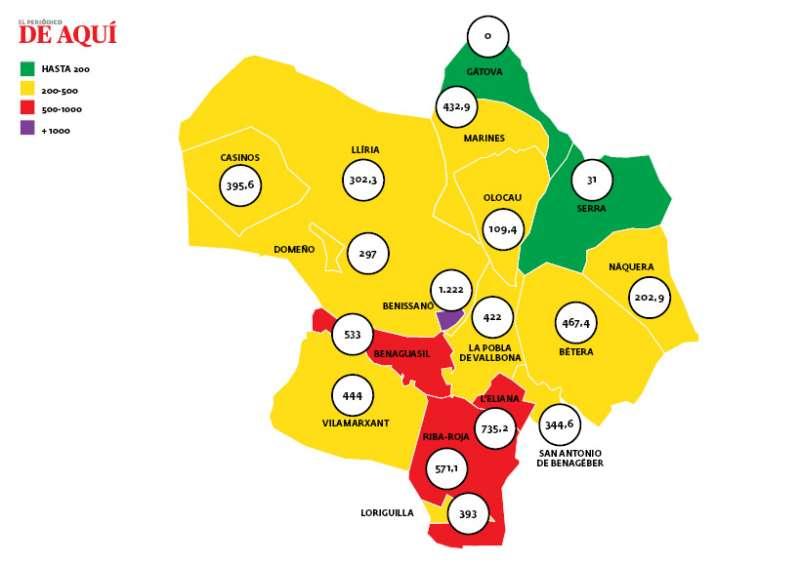 Mapa del Camp de Túria con los últimos datos. EPDA.