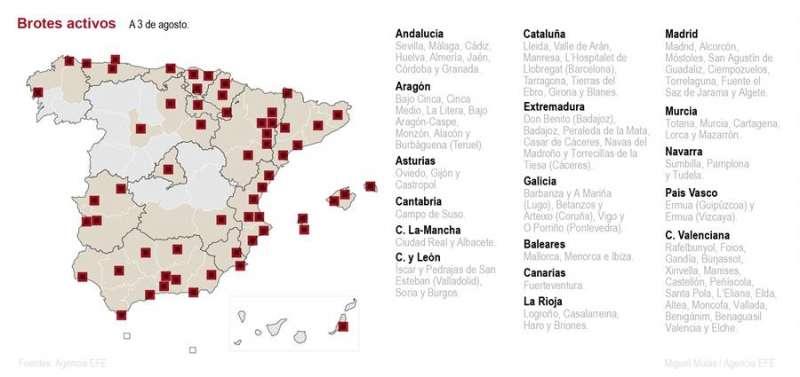 Mapa de brotes activos en Espa�a. EFE