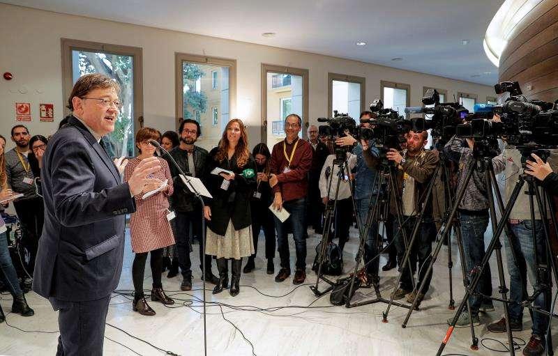 El president de la Generalitat, Ximo Puig, ante los medios de comunicación. EFE/Archivo