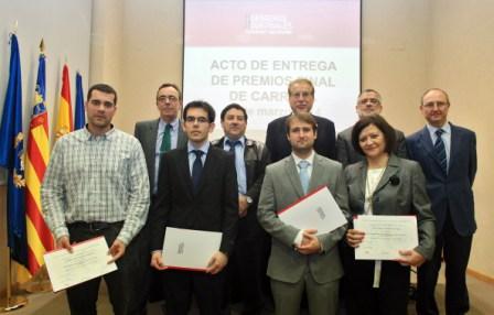 El Colegio Oficial de Ingenieros Industriales de la CV y la UPV entregaron anoche los premios de la Cátedra de Empresa. FOTO: EPDA