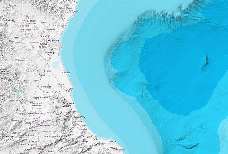 Mapa del epicentro del movimiento de tierras