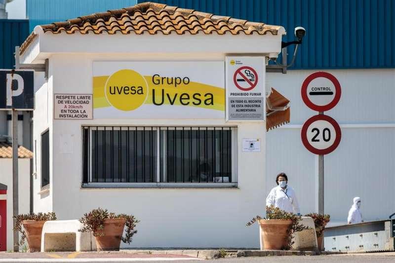 Vista general del acceso principal a la empresa cárnica Grupo Uvesa de Rafelbuñol (València), donde se han detectado 14 casos de coronavirus. EFE/Biel Aliño