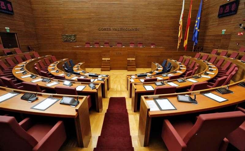 Vista general del hemiciclo de Les Corts Valencianes. EFE