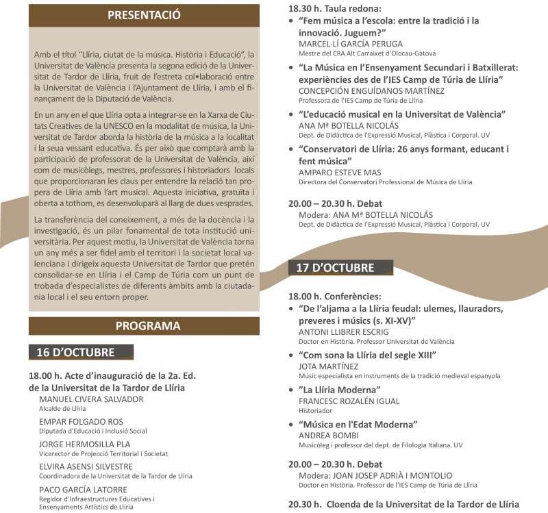 Programa Universitat Tardor