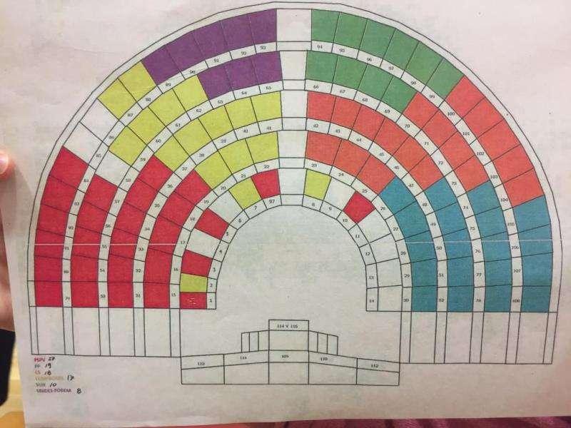 Reparto de los escaños en el hemiciclo para la próxima legislatura, en un boceto. EFE