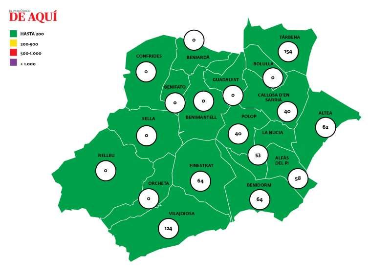 Mapa de la incidencia por Covid19 en la Marina Baixa / EPDA