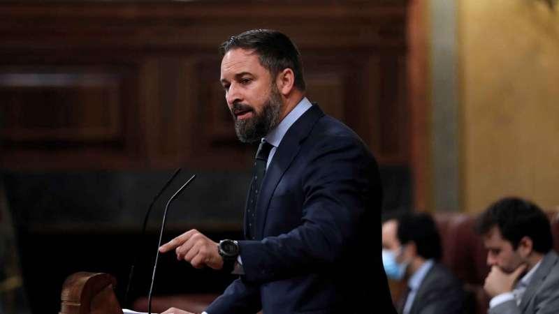Santiago Abascal, líder de Vox, en el atril del Congreso. Efe