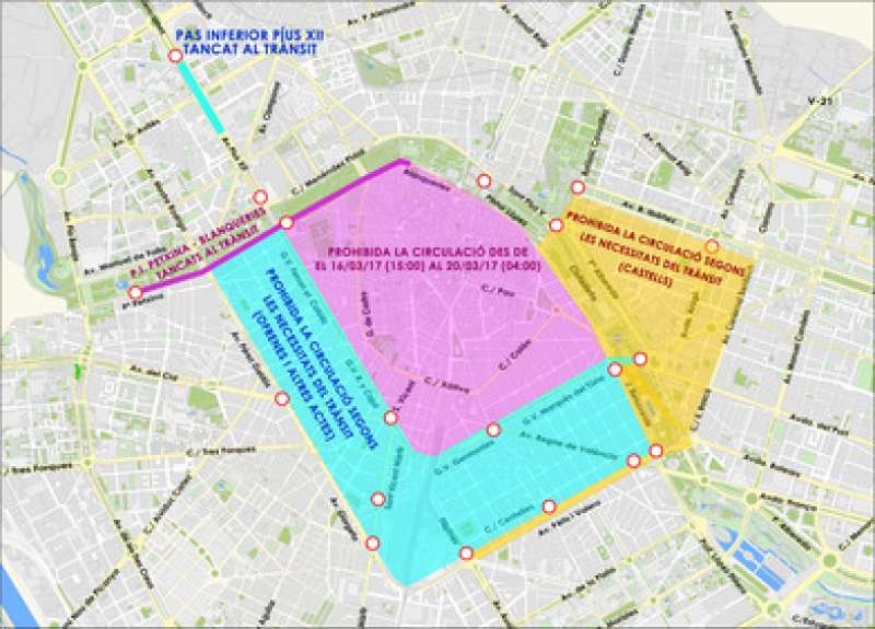 Mapa de las calles cortadas durante Fallas en València. EPDA