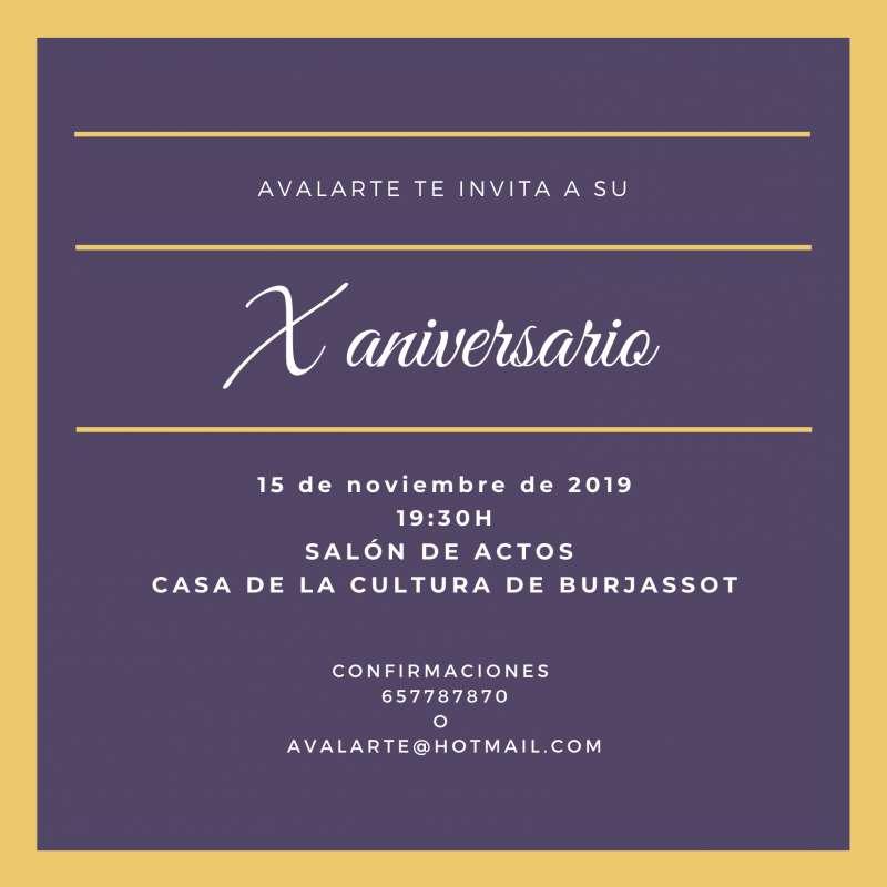 Invitación X aniversario de AVALAERTE. EPDA