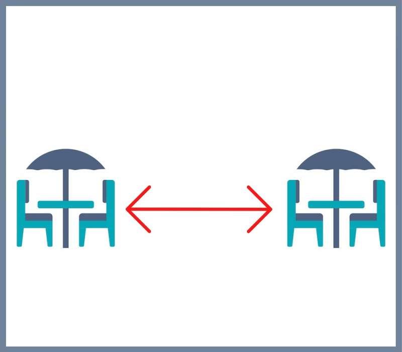 Cartel informativo sobre la distancia en las terrazas. / EPDA