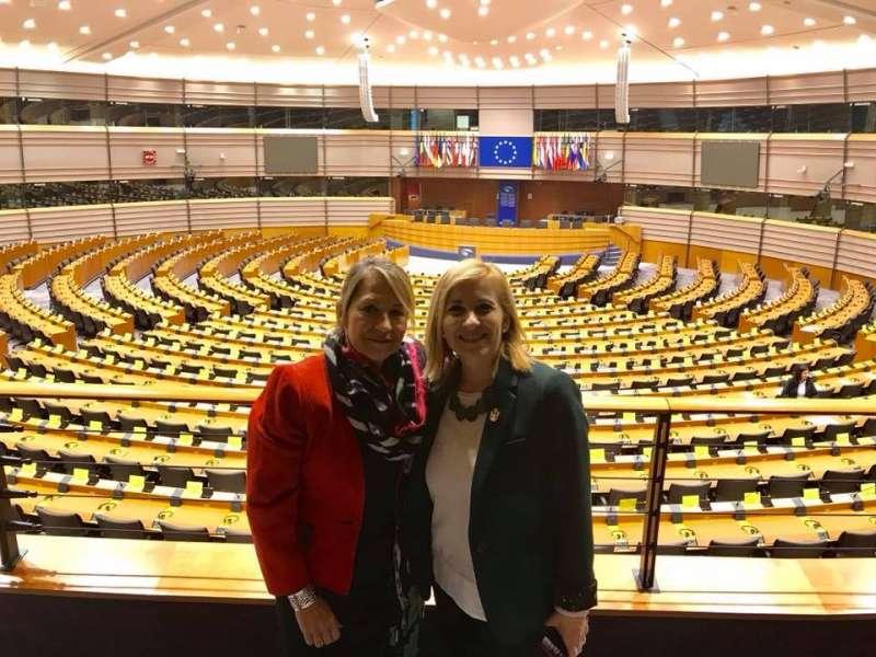 Tusón en Bruselas junto a la con la eurodiputada Inmaculada Rodríguez-Piñero