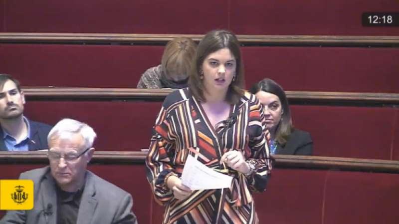 Sandra Gómez en un pleno municipal de Valencia. FOTO PSPV