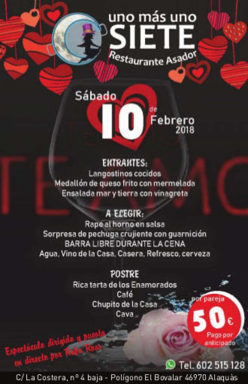 Menú de San Valentín en el restaurante Uno más Uno Siete de Alaquàs. EPDA