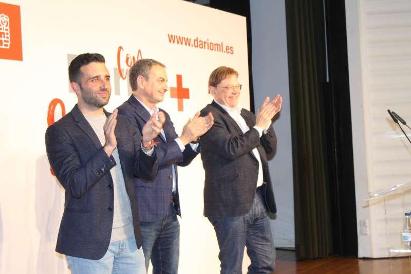 Darío Moreno, José Luis Rodríguez Zapatero y Ximo Puig. EPDA