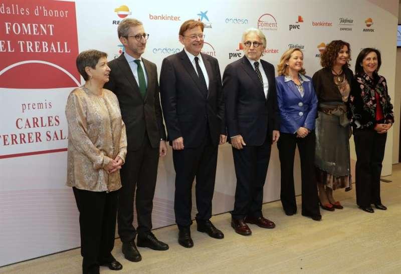 El president de la Generalitat en Barcelona, donde ha asistido a la entrega de premios de Foment del Treball. EFE