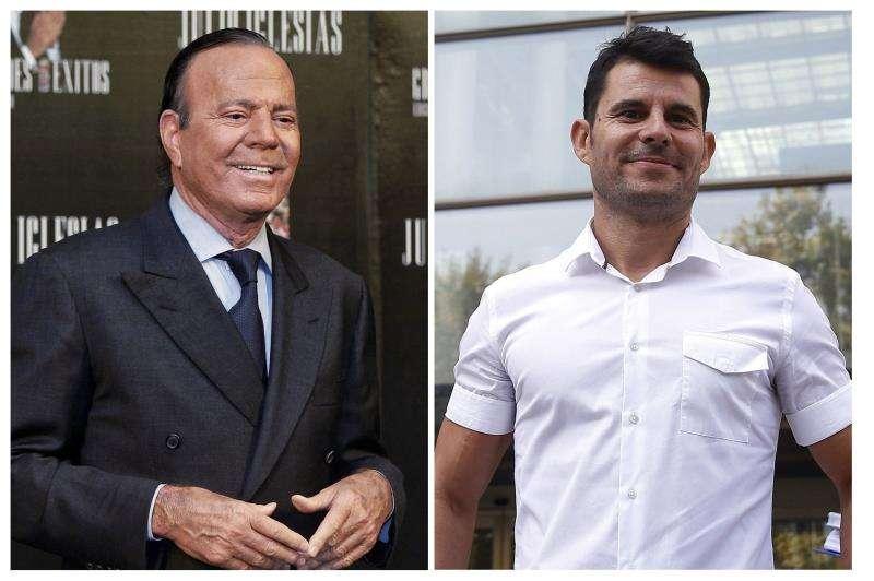 Fotografías de archivo, del cantante Julio Iglesias (i) y Javier Sánchez Santos (d), del que titular del Juzgado de Primera Instancia número 13 de Valencia ha sentenciado que es hijo del cantante. EFE/Archivo