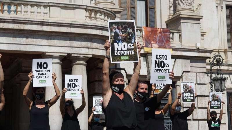 Protesta animalista frente al Ayuntamiento de València. EPDA