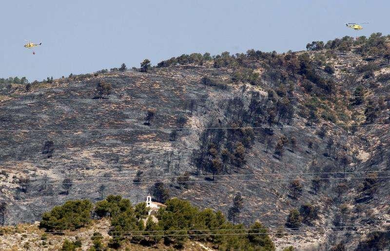 Imagen de una de las zonas quemada por el incendio. EFE