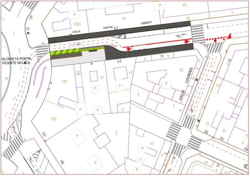 Plano de la obra en el tramo de la calle Pintor Gisbert. EPDA