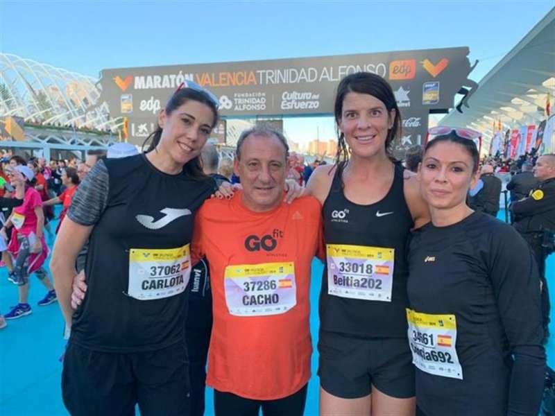 Los exatletas olímpicos españoles Carlota Castrejana, Fermín Cacho, Ruth Beitia y Concha Montaner. Foto cedida por la Maratón de Valencia