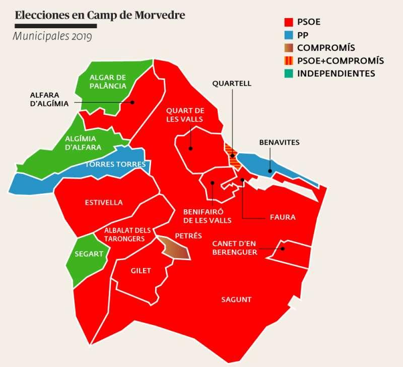Mapa de la comarca del Camp de Morvedre con las fuerzas políticas ganadoras en cada municipio. EPDA