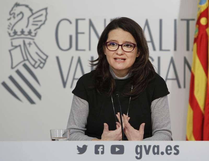 La vicepresidenta y portavoz del Consell, Mónica Oltra, en rueda de prensa