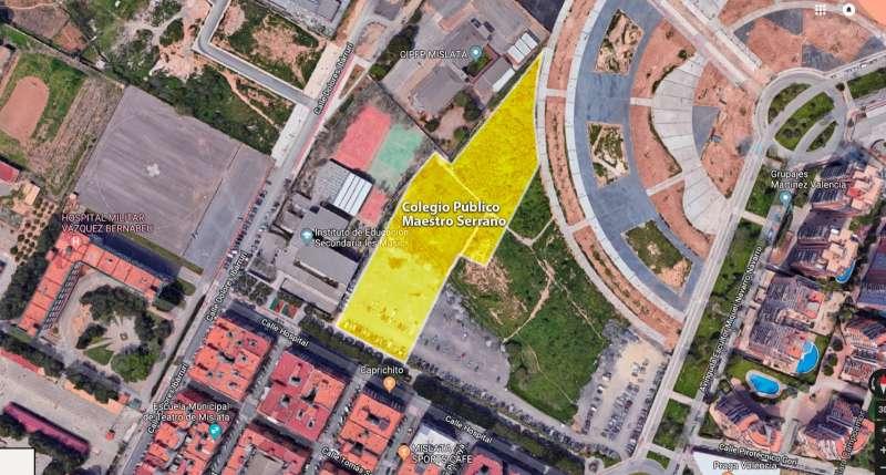 Vista aérea de la ubicación del nuevo colegio de Mislata. EPDA