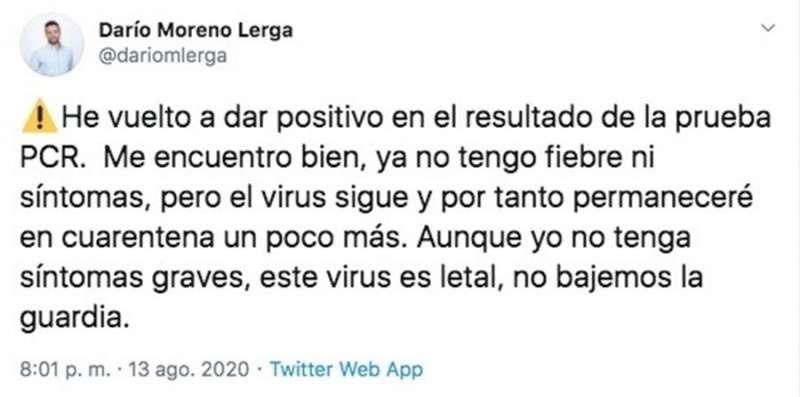 Una imagen del tuit publicado por Darío Moreno. EFE