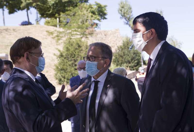 Rhamsés Ripollés, alcalde de Morella, junto al president de la Generalitat, Ximo Puig, en una imagen de archivo. EPDA