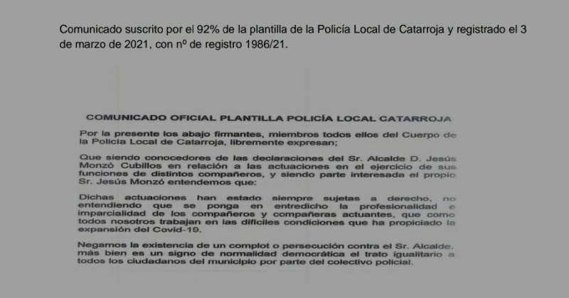 Escrito presentado por registro de entrada y firmado por el 92% de la plantilla de la Policía Local. EPDA
