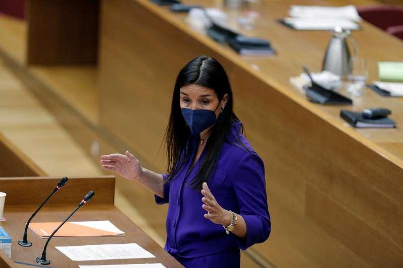 La portavoz de Ciudadanos, Ruth Merino, en Les Corts, en una imagen reciente. EFE/Manuel Bruque