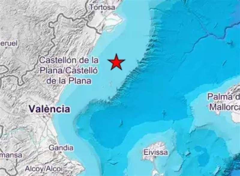 Imagen del Instituto Geográfico Nacional del seísmo registrado en el golfo de Valencia, frente a las costas de Peñíscola.