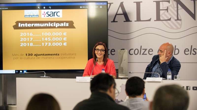 La vicepresidenta, Maria Josep Amigó, y el diputado de Cultura, Xavier Rius, en la presentación de las ayudas culturales 2018. EPDA