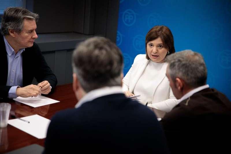 La presidenta del PPCV, Isabel Bonig (2d), se reúne con representantes del PP en el Congreso y Senado. EFE/Biel Aliño